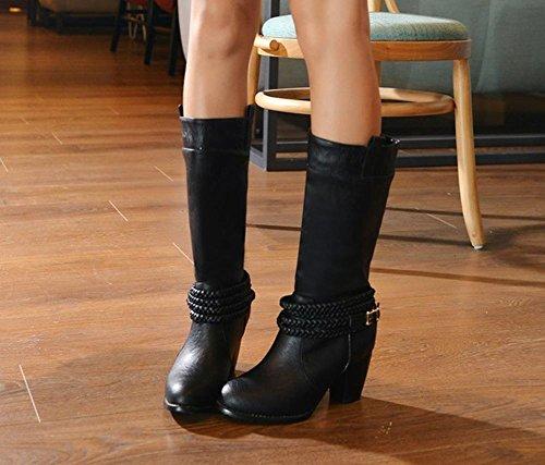 Carolbar Women's Vintage Western High Heel Buckle Mid Calf Boots Black IV7CM3BLL2
