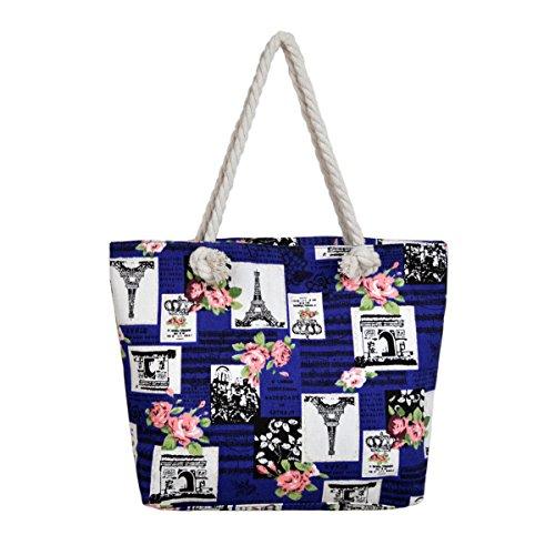 Paris Eiffel Tower Music Notes Floral Print Canvas Tote Shoulder Bag Handbag, Blue