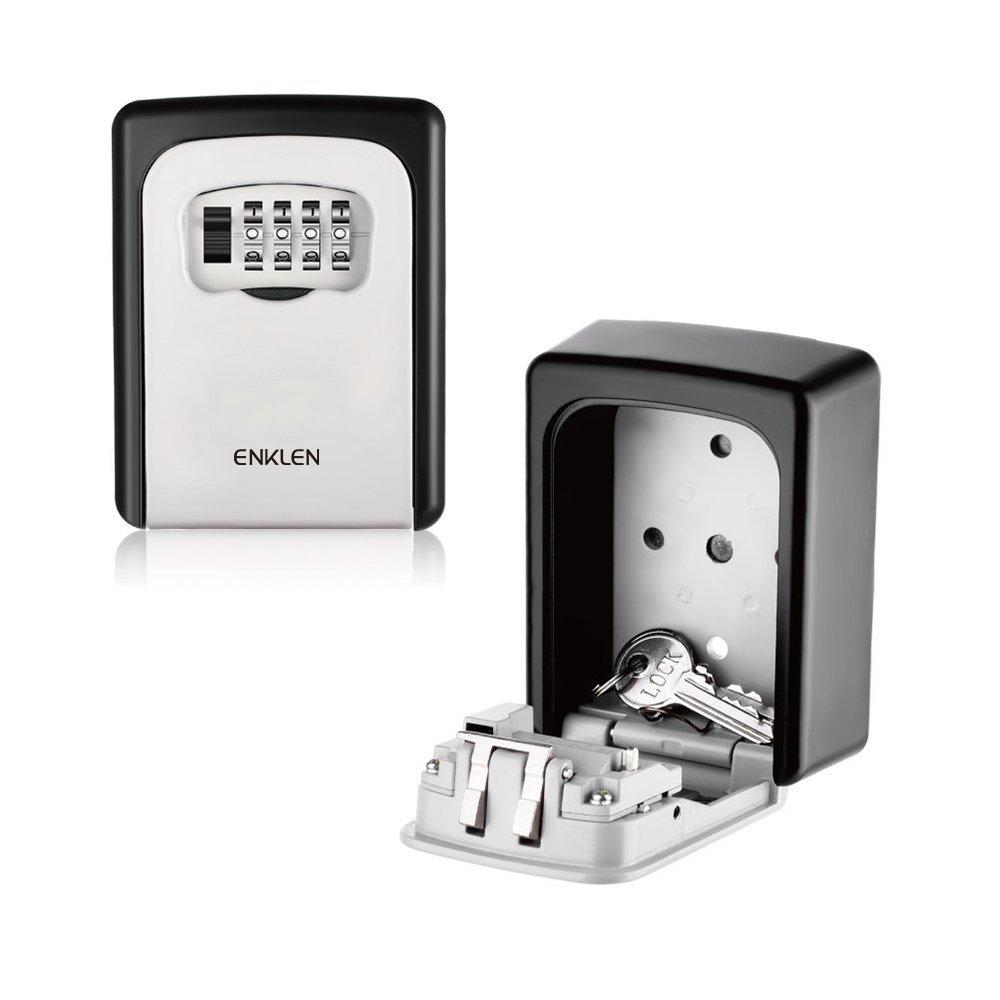 Key Lock Box, ENKLEN Wall Mounted 4-Digit Resettable Combination Key Safe Box, Key 4-Digit Resettable Combination Box, Key Storage Lock Box Indoor Outdoor