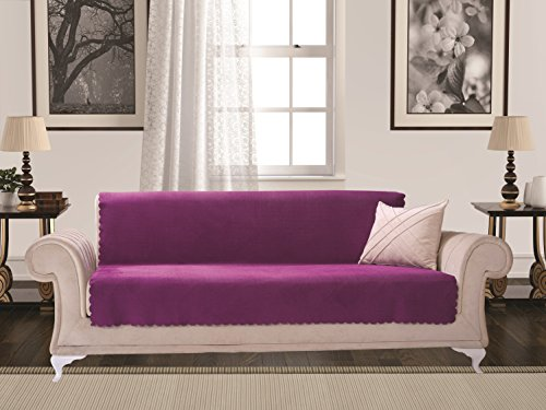 Settee Piece 2 (Anti-Slip Armless 1-Piece Sofa Throw Slipcover for Dogs Pets Kids Non-Slip Furniture Cover Shield Protector Fitted 2 & 3 Cushion Couch Futon Sectional Recliner Seater Diamond Sofa New Purple)