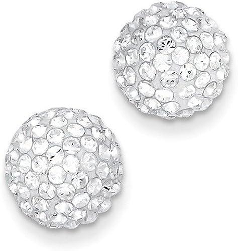 Lex /& Lu Sterling Silver CZ Half Ball Post Earrings