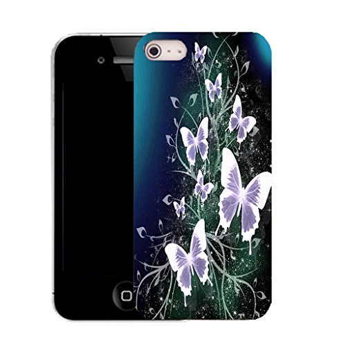 Mobile Case Mate IPhone 5S clip on Silicone Coque couverture case cover Pare-chocs + STYLET - glamorous butterflies pattern (SILICON)
