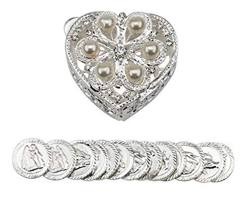 Heart Shaped Arras Chest with Pearls - Arras de Boda - Unity Coin Holder - Arras de Matrimonio - Cofre de Boda - COFJC -