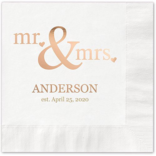 (Canopy Street Mr & Mrs Hearts Personalized Beverage Cocktail Napkins - 100 White Paper Napkins with Choice of)