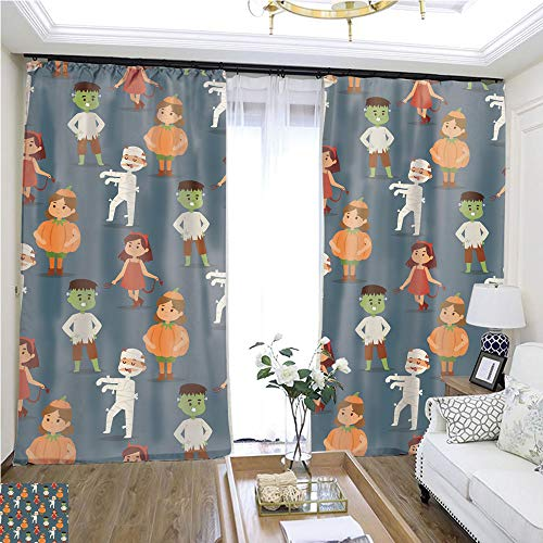 Cartoon Curtain Series Cute Kids Wearing Halloween Party Costumes vector2 W108 x L80 Insulated Room Shades Highprecision Curtains for bedrooms Living Rooms Kitchens etc.