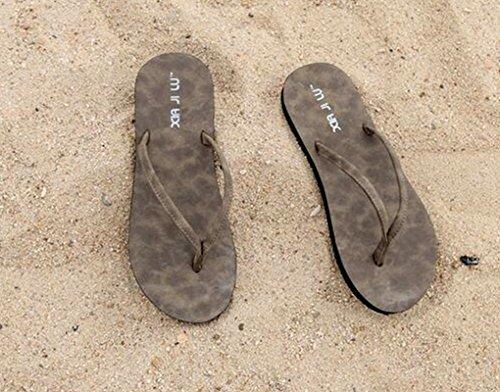 Sentao Unisex Sandalias de la playa Comodidad Casual de la playa Chanclas Marrón