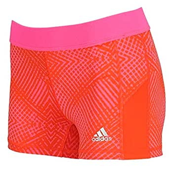 "Adidas Womens Techfit 3"" Boy Short - Energy Grid Solar Pink/Matte Silver XL x 3"