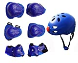 CTK Chilren's Kids Protective Pads Knee Elbow Wrist Head Protection Skateboard Helmet and Pads Pack of 7 Pcs,Blue