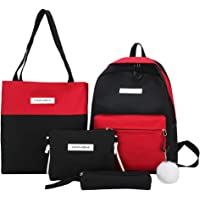Tomepeia 4Pcs School Backpack Set for Girls Boys Canvas Backpacks Shoulder Bag Crossbody Bag Pencil Case Package