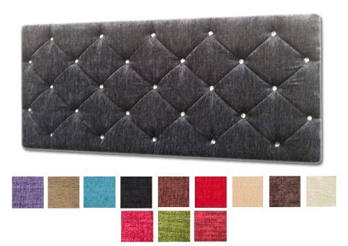 Alton 5Ft King Size Chenille Fabric Diamond Diamante Diamonte Headboard - Choice of 13 Colours (BLACK) BY NICE HEADBOARDS