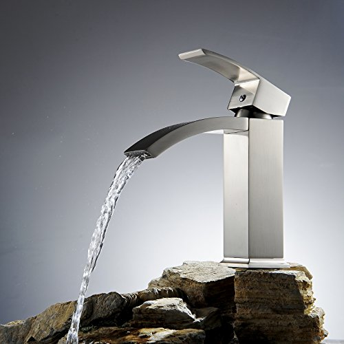 Greenspring Waterfall Bathroom Sink Faucet Cascade Single Handle Basin Mixer Tap,Nickel - Cascade Waterfall