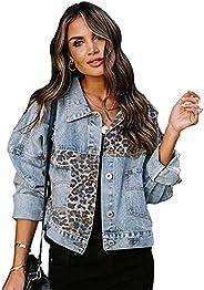 Denim Jacket Women,Unique Loose Short Jacket Leopard Patchwork Jean Jacket