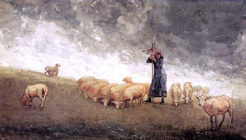 (Winslow Homer Shepherdess Tending Sheep - 15.05
