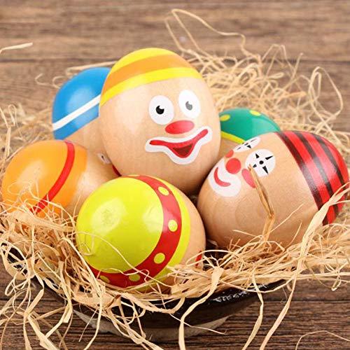 TYewa98556 6Pcs/Set Clown Wooden Eggs with Base Child Hand Eye Balancing Educational Toy ()