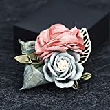 THTHT Woman Brooches Handmade Yard Fabric Flowers Brooches Pin Vintage Leaf Suits Fashion Jewelry Coat Corsage Accessories Pink