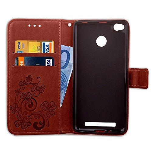 YAJIE-Carcasa Funda Para Xiaomi Redmi 3S / 3 Pro / 3, [Relieve Lucky Flower Four-Leaf Clover] Funda de cuero de la PU [Soporte / Ranura para tarjeta] Con correa para la muñeca Funda de cuero Flip Case Brown