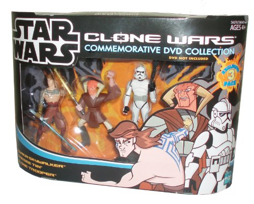 Star Wars Yellow Clone - Cartoon Network Year 2005 Star Wars Clone Wars Commemorative DVD Collection Animated Series Exclusive 3 Pack 4 Inch Tall Action Figure Set - Anakin Skywalker with Blue Lightsaber, Saesee Tin with Yellow Light Saber and Clone Trooper with Blaster Rifle (DVD Sold Separately)