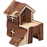 Wood house hamster, OMEM mill tooth house. Easy to clean, suitable for squirrels, suction cup bracket, natural life tunnel system, Small Animal House