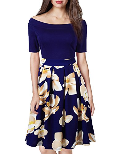 WOOSEA Women's Retro Off Shoulder Style Floral Print Evening Party Dress (Small, Navy Blue - Retro Women Style For