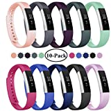 Fundro Replacement Bands Compatible with Fitbit Alta and Fitbit Alta HR, Newest Sport Strap Wristband with Secure Buckle(10 Pack) (B# 10pack, Large (7.1'-8.3'))