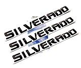 black silverado letters - Yoaoo® 3pcs OEM Black Silverado Nameplate Letter Alloy Emblems Badge 2011-2015 Original Silverado Chevrolet Glossy