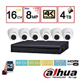 Dahua 4K Security Package: 16CH 4K Pentabrid (XVR5116H-4KL) (CVI/TVI/IP/AHD/Analog ) DVR + (6) 4MP (HAC-HDW1400M) Outdoor HDCVI IR Eyeball Dome Camera w/4TB Security Hard Drive Installed For Sale