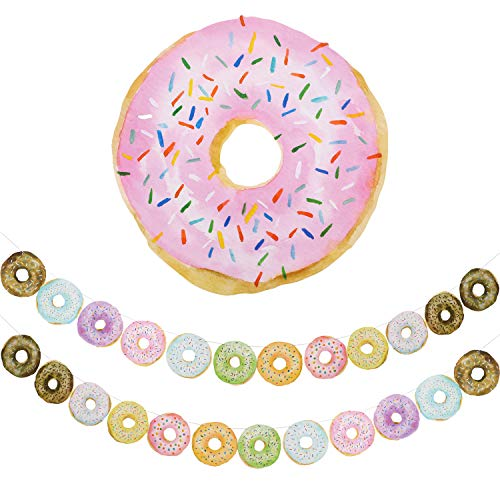 2 Sets Donut Banners Donut Food Theme Party Decorations Doughnut Birthday Party Garland Banner Donut Time Party Decorations for Thanksgiving, Donut Party Photo Props]()