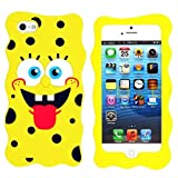 3D Cartoon Lovely Spongebob Soft Rubber Cover Protective Silicone Back Case for Apple Iphone Samsung Galaxy Motorola Sony (for Samsung Galaxy S3 Mini i8190)
