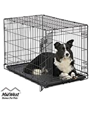 MidWest Homes for Pets Dog Crate   iCrate Single Door & Double Door Folding Metal Dog Crates   Fully Equipped