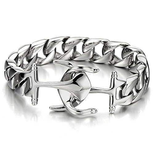 - COOLSTEELANDBEYOND Exquisite Stainless Steel Mens Boys Marine Anchor Curb Chain Bangle Bracelet Silver Color Polished
