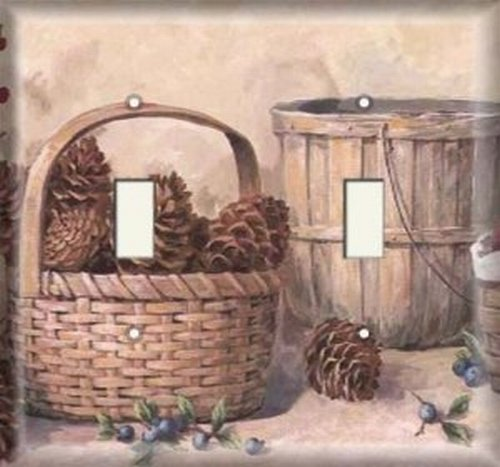 Double Light Switchplate Cover - Pine Cone Baskets ()