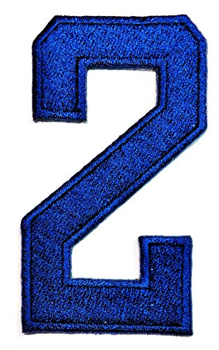 PP Patch Blue Letter Number Two School Symbol Counting No.2 Patch Arabic Number 0 to 9 Novelty Embroidered Sew Iron on Patch Applique for Gifts Crafts Jeans T-Shirt hat Clothing -