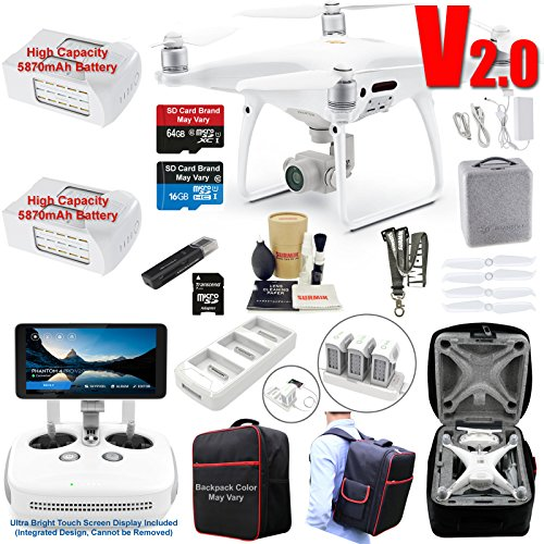 DJI Phantom 4 PRO PLUS V2.0 (PRO+ V2) Drone Quadcopter (Remote W/Integrated Touch Screen Display) Bundle Kit with 2 Batteries, 4K Professional Camera Gimbal and MUST HAVE Accessories