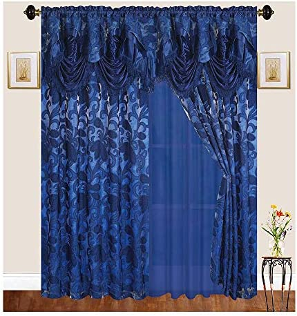 Sapphire Home Traditional Curtain Drape Set 2 Panels 84 Inch Long, Includes Attached Valance, Sheer Backing, 2 Tassels, Leaf Floral Pattern Drape, EM48-84, Royal Dark Blue