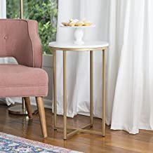 """WE Furniture 16"""" Round Side Table - Marble/Gold"""