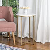 WE Furniture 16'' Round Side Table - Faux Marble/Gold