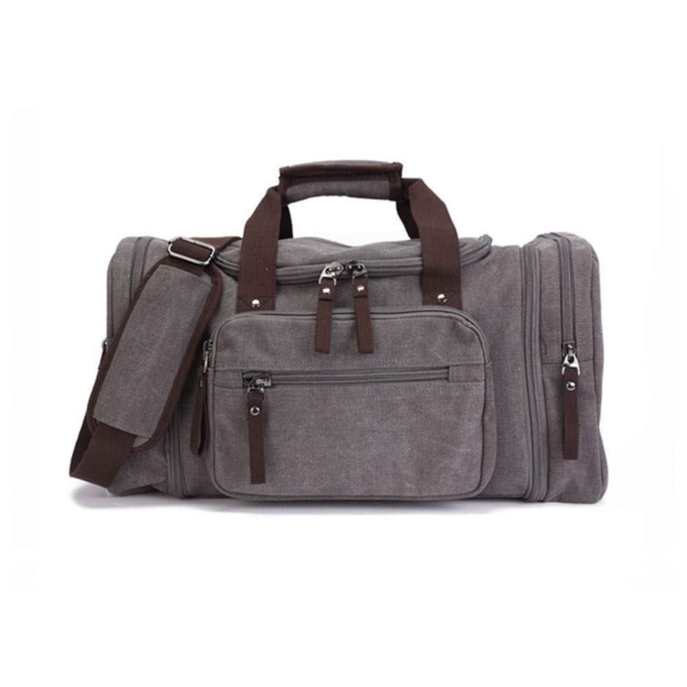 GLJJQMY Travel Bag Outdoor Travel Luggage Bag Large Capacity Men and Women Casual Canvas Bag Splash-Proof Single Shoulder Messenger Bag Color : Gray 53 X 25 X 29cm Travel Bag