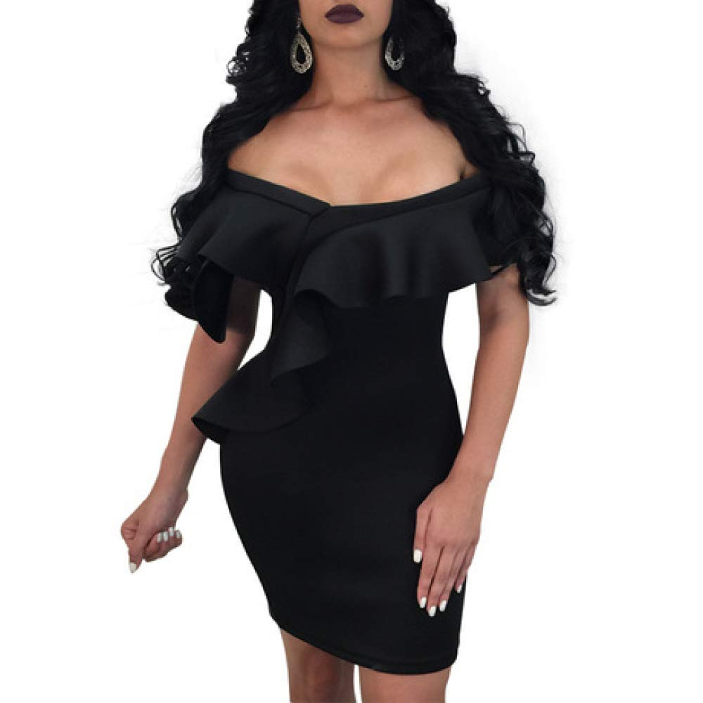 RATWIFE Women's Ruffled Sexy Word Shoulder Slim Dress Women's Sexy Deep VNeck Ruffled Sexy Word Shoulder Dress