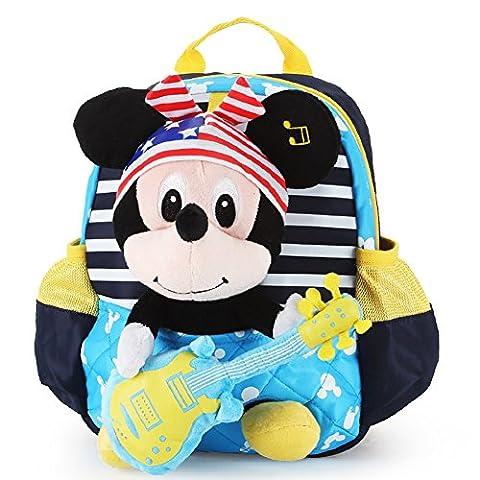 YOURNELO Kid's Cute Cartoon Mickey Minnie Rucksack School Backpack Bookbag (L Small Navy Blue) (Disney Pin Grab Bag)
