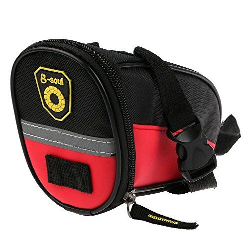 Sicher Reflex-Streifen Bike Fahrrad Sattelstütze Tasche Sattel-Beutel Sitztasche(Rot)