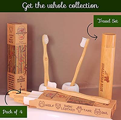 Himalayan Blue Kids Natural Biodegradable Bamboo Toothbrush and Travel Holder Case Organic - Soft Bristles for Toddler and Children - Gift E-book -Camping, mountain, school, travel, sports, activities