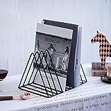Whthteey 9 Slots Triangle Magazine Holder Desktop Wire File Stand Multifunction Letter Sorter (Black)