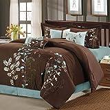 Chic Home Bliss Garden 8 Piece Embroidered Comforter Set, Queen, Brown
