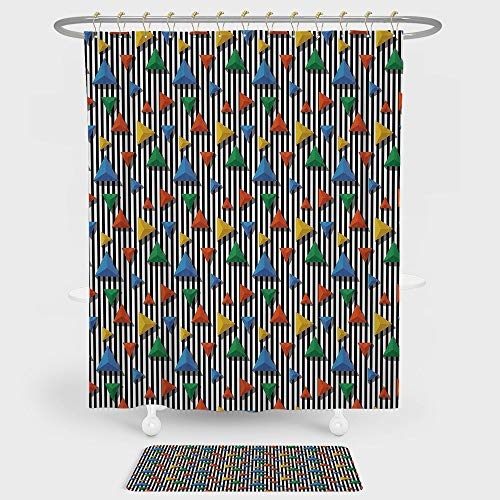 White Colonial Style Combination - iPrint Geometric Shower Curtain Floor Mat Combination Set Black White Striped Backdrop Colorful 3D Style Pyramid Figures Modern decoration daily use Multicolor