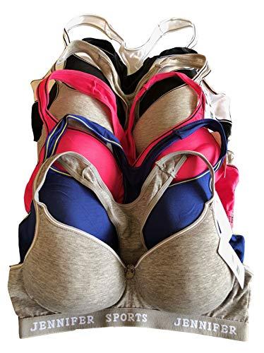 6 pcs Wire Free Gym Light Padded Raceback Cotton Sports Bra B/C/D Cup (32B, 61014bra)