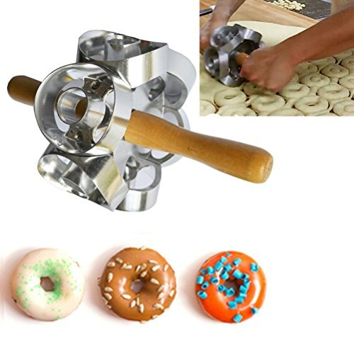 Rollving Heavy Duty Metal Donut Cutter Mold Doughnut Maker Tool Rolling Donut Maker Cutter Mold Fondant Cake Bread Desserts Bakery Mould for DIY Home Baking