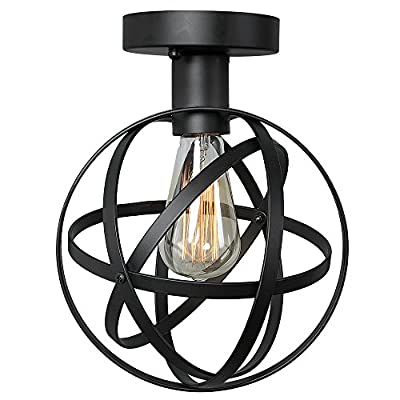 HOMEANGEL Wire Cage Ceiling Lights, 1-light Globe Ceiling Lamp for Living Room, Bedroom, Cafes, Office, Black Finish