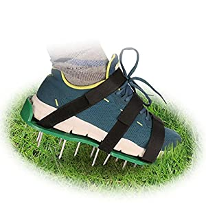 Lawn Aerator Shoes, Aerating Lawn Soil Sandals with 3 Adjustable Nylon Straps, Extra Spikes and Wrench, Heavy Duty Spiked Sandals for Aerating Your Lawn or Yard