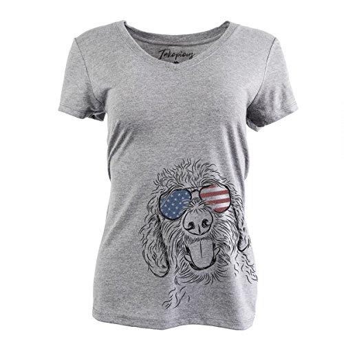 - Patriotic Dixie The Labradoodle Women's Triblend T-Shirt Relaxed V-Neck 2XL Grey