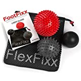 FlexFixx SPIKY MASSAGE BALLS for Foot Pain Relief - Best for Plantar Fasciitis with Reflexology, Acupressure, Trigger Point & Physical Therapy - Porcupine & Lacrosse Ball with Bag & User Guide